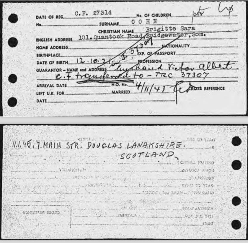 Brigitte Cohn, Entry to Britain card