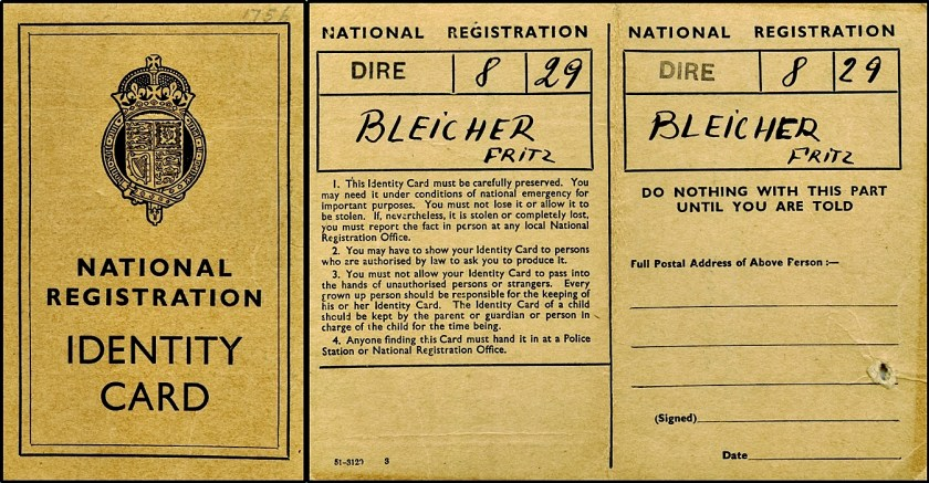 Kitchener camp, Fritz Bleicher, National Registration Identity Card