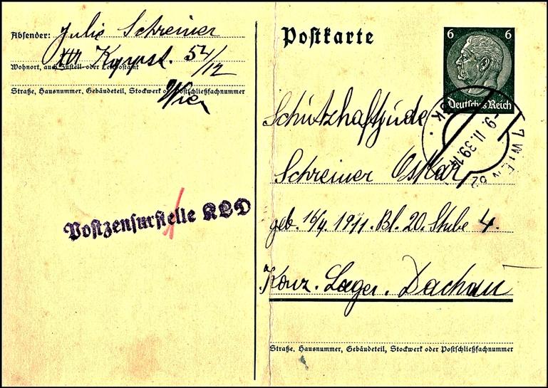Oskar Schreiner, Postcard, Dachau, 9 November 1939