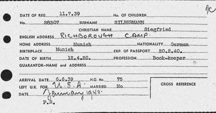 Richborough camp, Siegfried Silbermann, Entry to Britain card, 6 June 1939