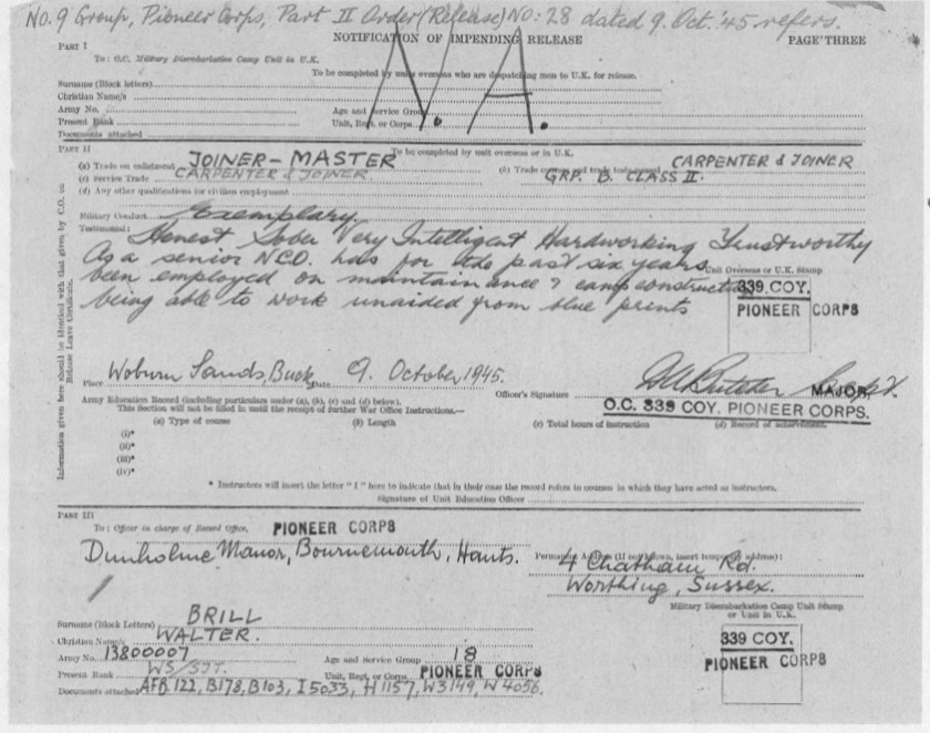 Richborough transit camp, Pioneer Corps, Walter Brill, Release document, 9 October 1945