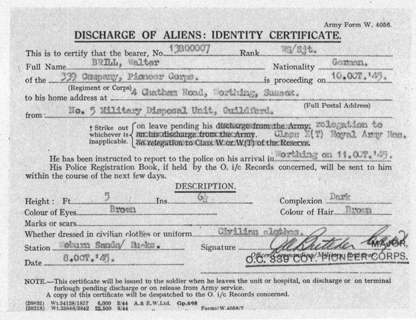 Richborough transit camp, Pioneer Corps, 339 Coy, Walter Brill, Discharge of Aliens, 8 October 1945