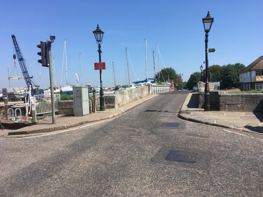 Kitchener camp, Sandwich toll bridge - crossed many times by the Kitchener men. Sandwich is behind you; Kitchener in front.