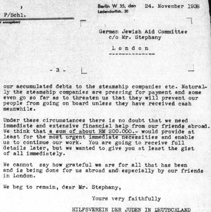 Kitchner camp, German Jewish Aid Committee, 24 November 1938