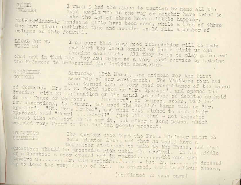 Kitchener Camp Review, April 1939, page 2, base