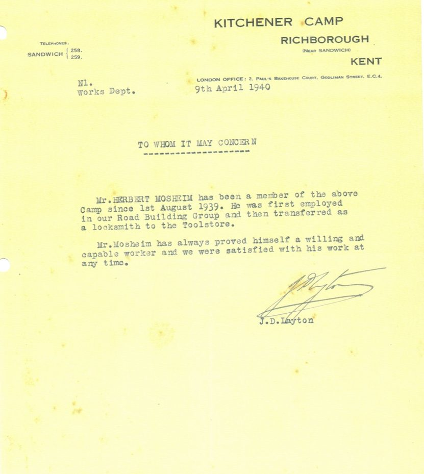 Kitchener camp, 9 April 1940, Herbert Mosheim, letter, Julian Richborough transit