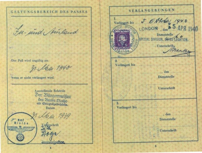 Richborough transit camp, 1 August 1939, Herbert Mosheim, passport, Swiss federation stamp