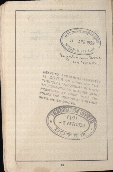 Richborough refugee camp, Walter Bill, passport, leave to land stamp, 3 April 1939