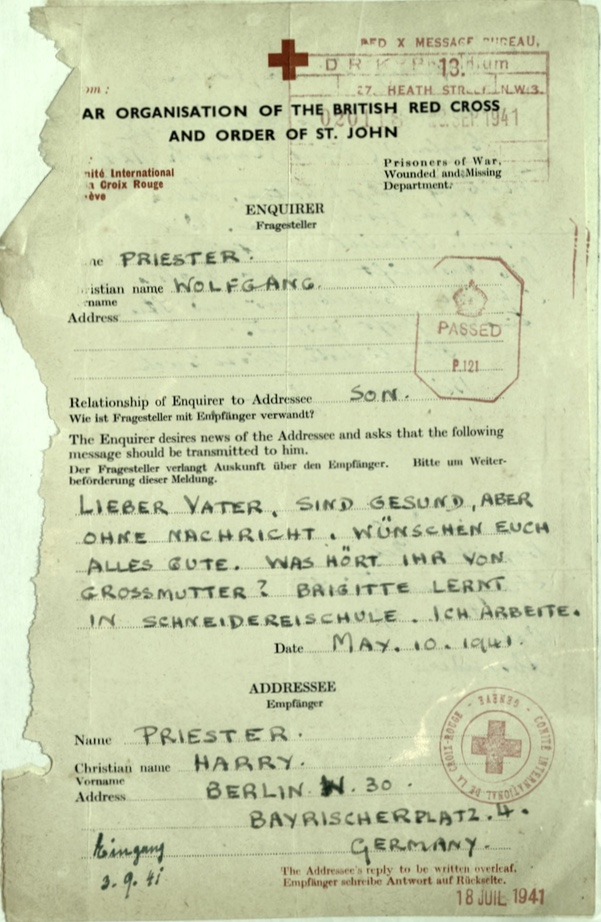 Kitchener camp, Wolfgang Priester, Red Cross letter dated 10 May 1941, stamped 18 July 1941, front