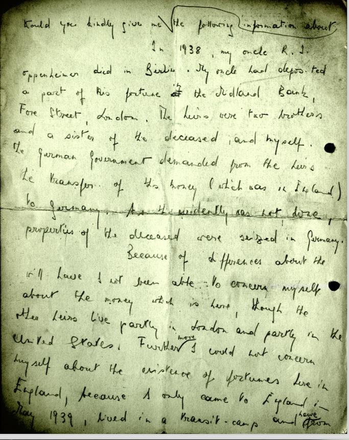 Kitchener camp, Wolfgang Priester, Letter, 1938, transit camp, Uncle R J Oppenheimer, Berlin, Will, estate, translation, nd