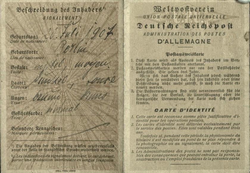 Kitchener camp, Wolfgang Priester, Deutßche Reichspoßt, Carte D'Identitié