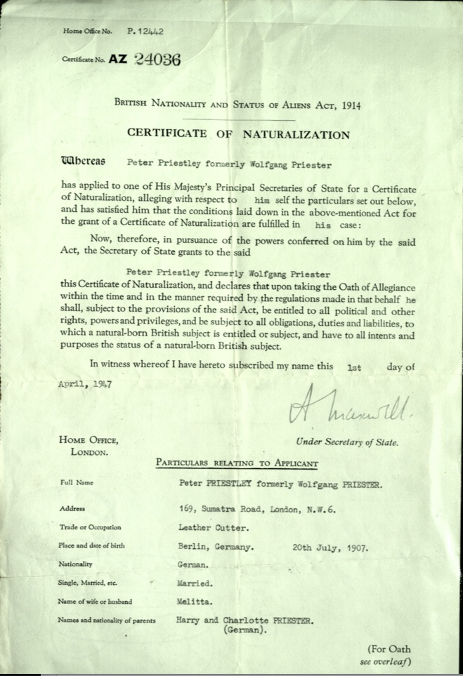 Kitchener camp, Wolfgang Priester,Peter Priestley, Certificate of Naturalization, 1 April 1947