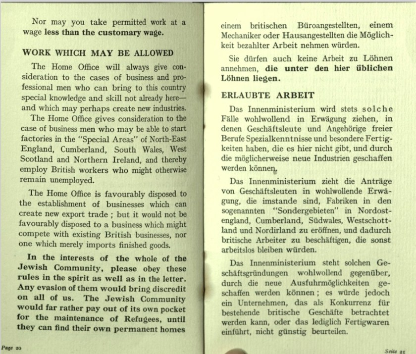Kitchener camp, Wolfgang Priester, German Jewish Aid Committee, Bloomsbury House, Jewish Board of Deputies, Woburn House, Guidance to all Refugees, pages 20 and 21