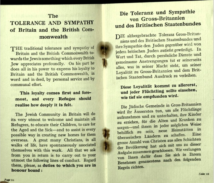 Kitchener camp, Wolfgang Priester, German Jewish Aid Committee, Bloomsbury House, Jewish Board of Deputies, Woburn House, Guidance to all Refugees, pages 10 and 11