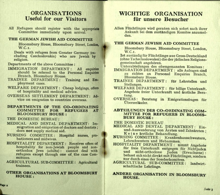Kitchener camp, Wolfgang Priester, German Jewish Aid Committee, Bloomsbury House, Jewish Board of Deputies, Woburn House, Guidance to all Refugees, pages 2 and 3