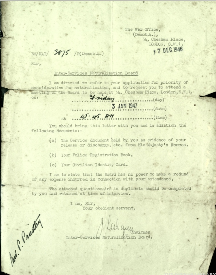 Wolfgang Priester, War Office, Letter 17 December 1946, Inter-services Naturalization Board