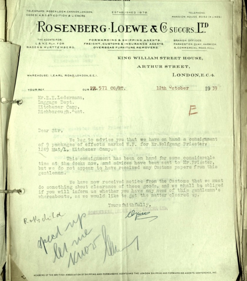 Kitchener camp, Wolfgang Priester, Letter, 12 Ocobter 1939, Rosenberg Loewe and Co., Luggage at docks