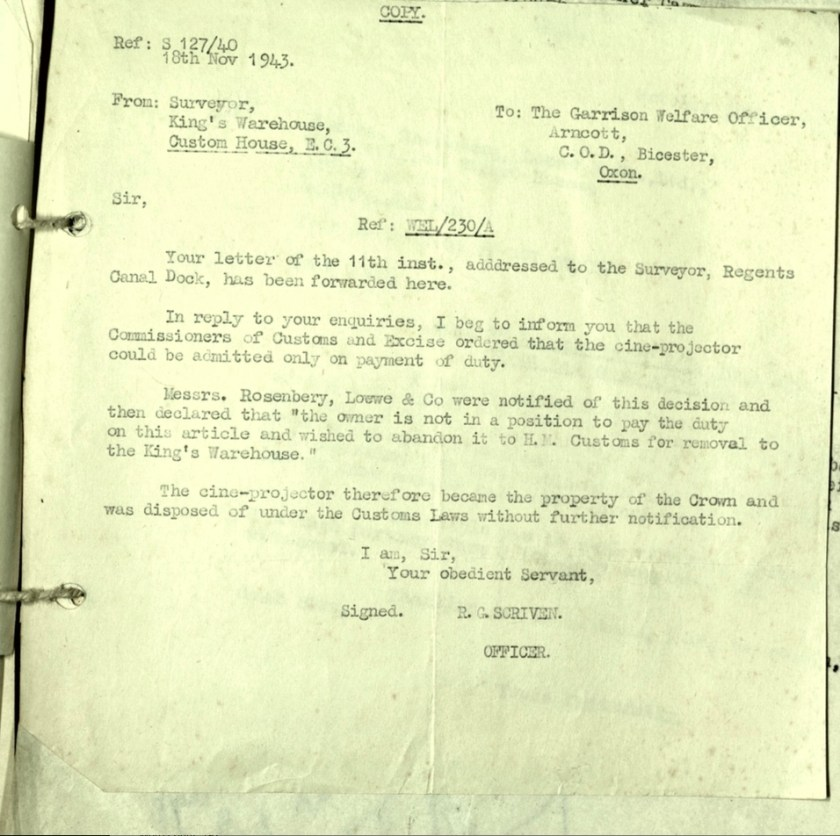 Wolfgang Priester, Surveyor, King's Warehouse, Custom House, Letter 18 November 1943, Garrison Welfare Officer, Bicester, Cine-projector, Luggage