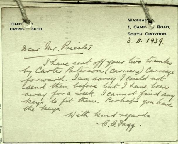 Wolfgang Priester, Letter, 3 November 1939, Luggage, trunks