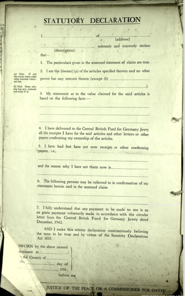 Kitchener camp, Document, Wolfgang Priester, Haig camp, Central British Fund for German Jewry, Bloomsbury House, Lost, damaged luggage, Statutory declaration, Commissioner for Oaths