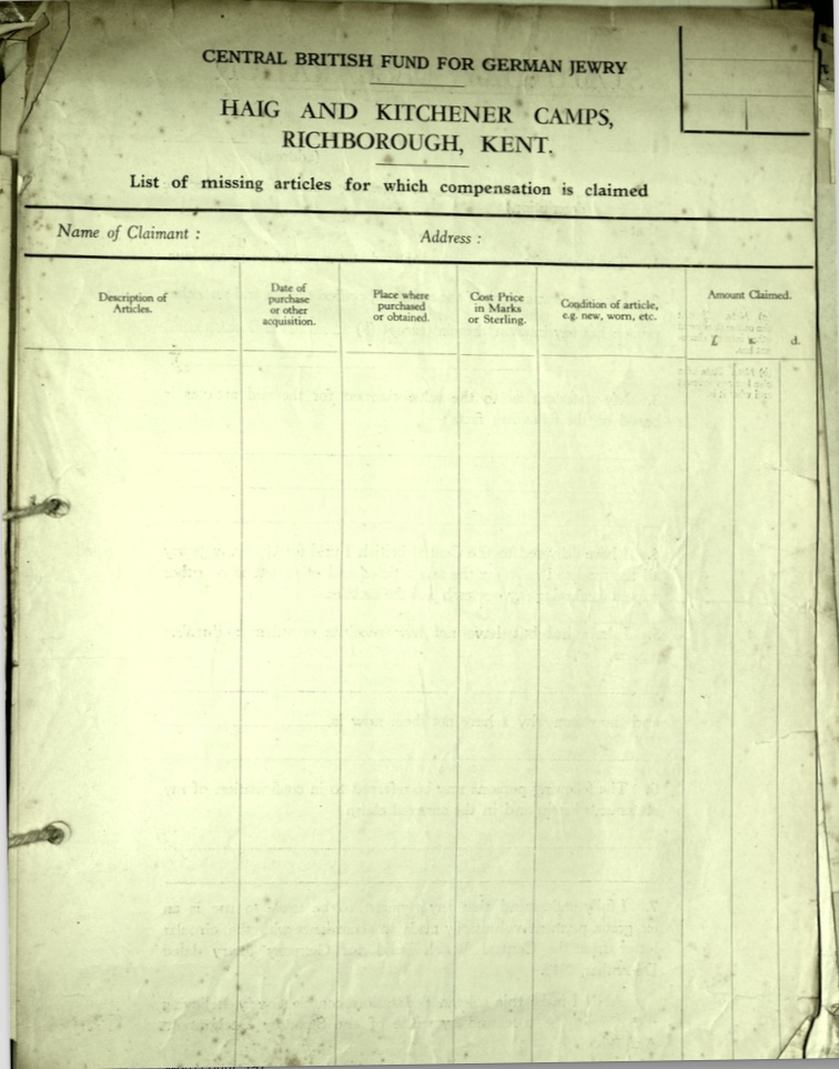 Kitchener camp, Document, Wolfgang Priester, Haig camp, Central British Fund for German Jewry, Bloomsbury House, Lost, damaged luggage, List of missing articles form