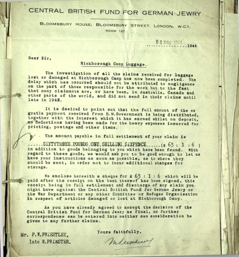 Kitchener camp, Wolfgang Priester, Letter, 24 May 1944, Luggage, Central British Fund for German Jewry, Bloomsbury House