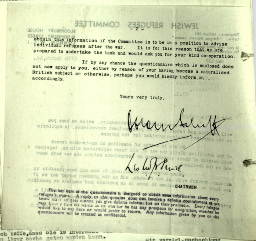 Jewish Refugees Committee, Bloomsbury House, Letter, 27 March 1944, Wolfgang Priester, Private Peter Priestley, War Office, page 2