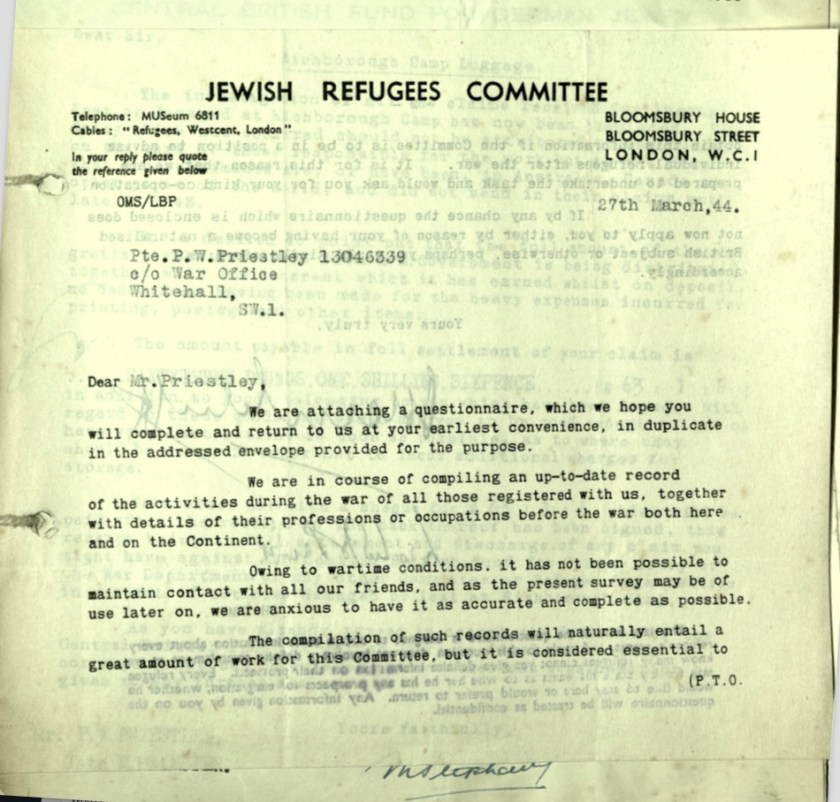 Jewish Refugees Committee, Bloomsbury House, Letter, 27 March 1944, Wolfgang Priester, Private Peter Priestley, War Office, page 1