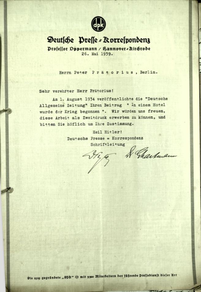 Wolfgang Priester, Letter, 26 May 1939, Deutßche Preße = Korreßpondenz