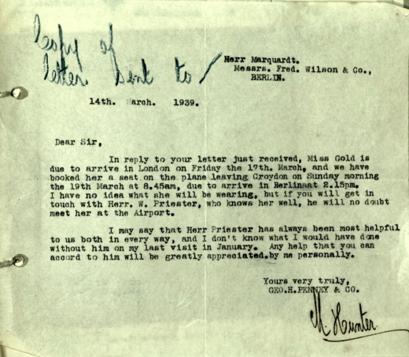 Wolfgang Priester, Letter 14 March 1939, Fred Wilson & Co., Berlin