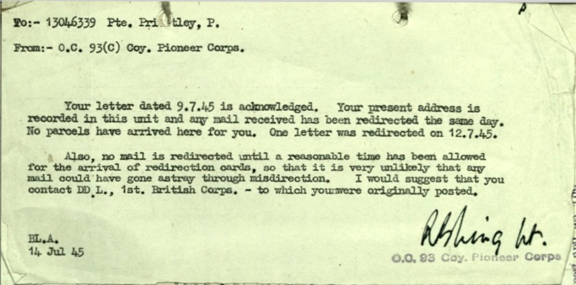 Wolfgang Priester, Pioneer Corps, From OC 93 Coy, Letter 14 July 1945, postal redirection