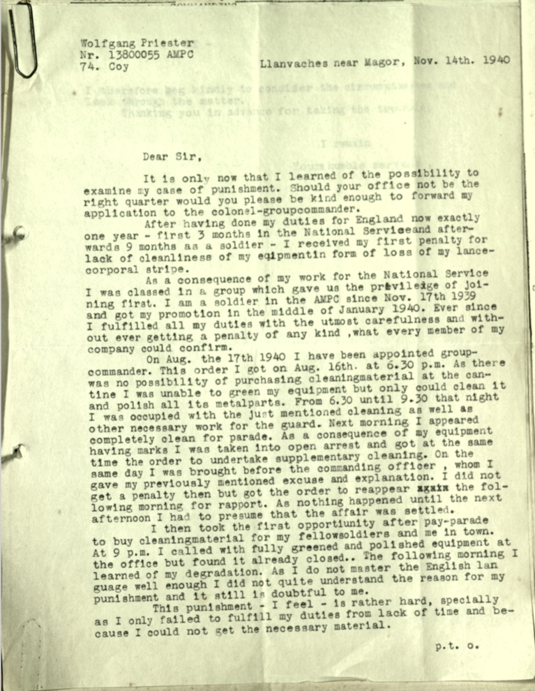 Wolfgang Priester, Pioneer Corps, Army Punishment, Letter 14 November 1940, page 1