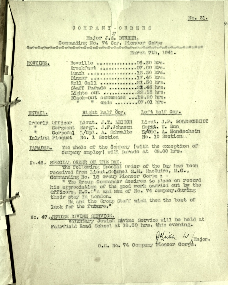 Wolfgang Priester, Pioneer corps, 74 Company, Major J E Durber, Special order, 7 March 1941