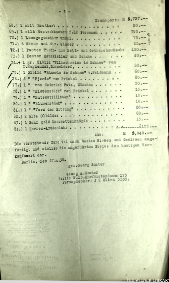 Kitchener camp, Wolfgang Priester, Document, Taxes Richard Oppenheimer, 27 April 1938, page 3