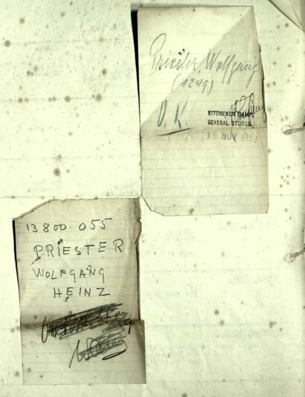 Kitchener camp, Wolfgang Priester, General Stores note, 16 November 1939, and Pioneer Corps Army number