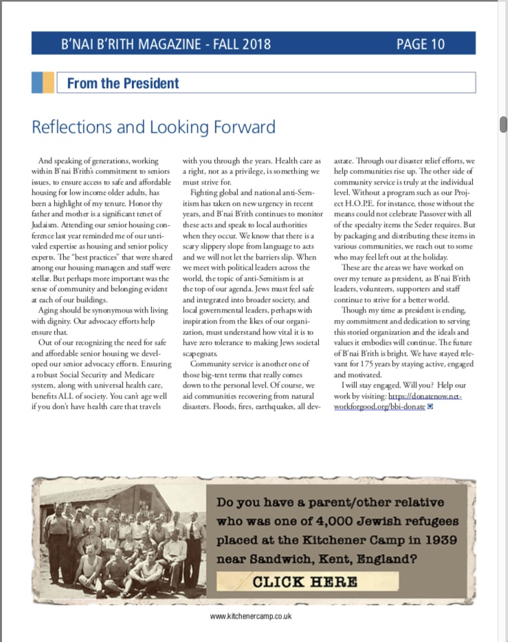 Kitchener camp, B'Nai B'rith Magazine advertisement, Fall 2018