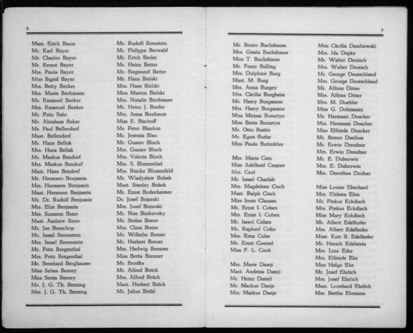 Kitchener camp, Werner Gembicki, Document, List of Passengers from Rotterdam to New York, 22 November 1939, pages 6 to 7