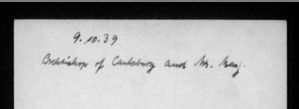 Kitchener camp, Archbishop of Canterbury and Jonas May, Kitchener camp director, 1939, reverse