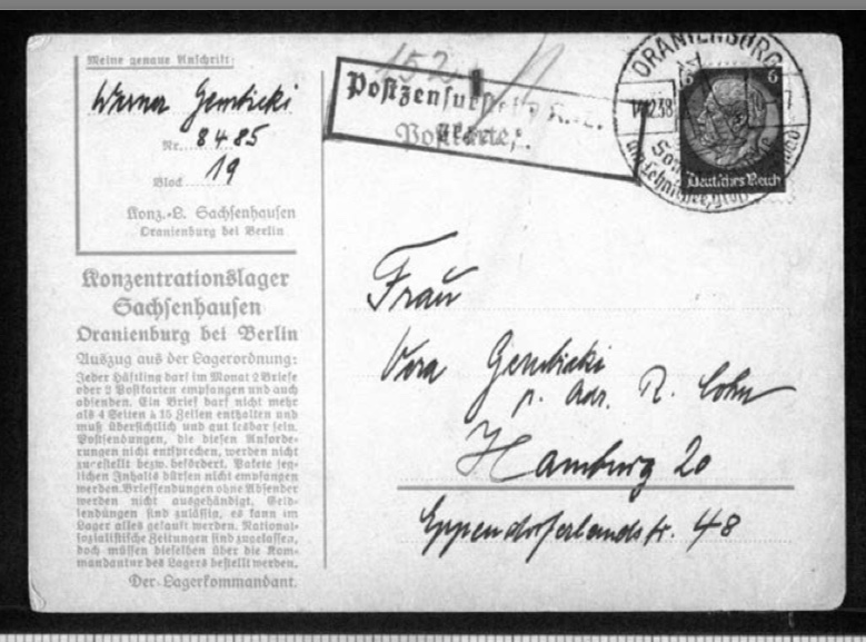 Werner Gembicki, Postcard, Konzentrationslager Sachsenhausen, Oranienburg bei Berlin, From Vera Gembicki (wife), Number 8485, 14 December 1938, front