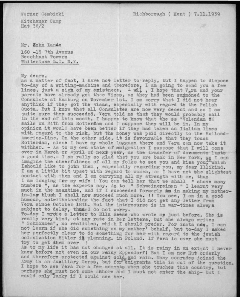 Kitchener camp, Werner Gembicki, Letter, Visas, Family emigration, Raining in camp, Hut 36/II orderly, AMPC, 7 November 1939, page 1