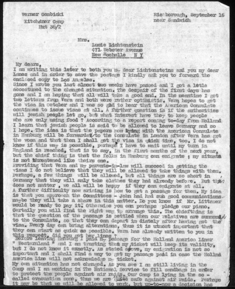 Kitchener camp, Werner Gembicki, Letter, Hut 36/II, Outbreak of war and despair, Wife Vera hopes for visa, American consulate, Forbidden goods, German shortages, National Service filling sandbags, KC in evacuation zone, 16 September 1939, page 1