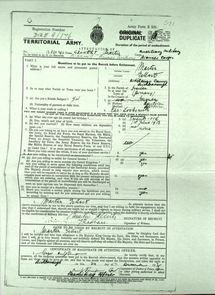 Kitchener camp, Martin Gellert, Document, Attestation, Car locksmith, Auxiliary Millitary Pioneer Corps, 20 December 1939
