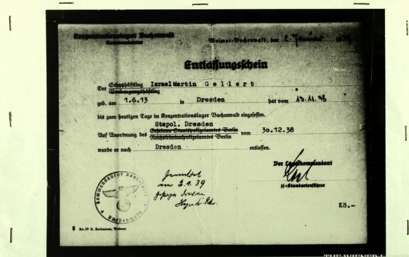 Martin Gellert, Certificate of release from Buchenwald, Signed Karl-Otto Koch, dated 30 December 1938, Released 2 January 1939