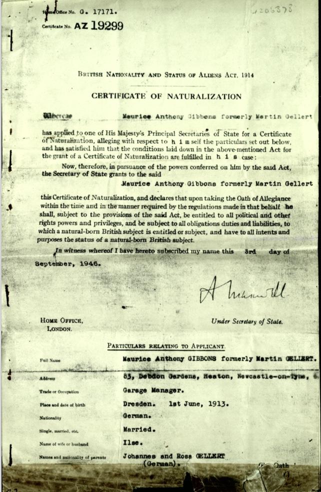 Kitchener camp, Martin Gellert, Document, Certificate of Naturalization, Maurice Anthony Gibbons, 3 September 1946