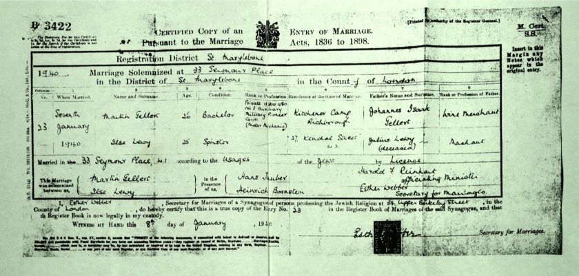 Kitchener camp, Martin Gellert, Document, Marriage certificate, Kitchener camp, Richborough, Married in London, W1, 8 January 1940
