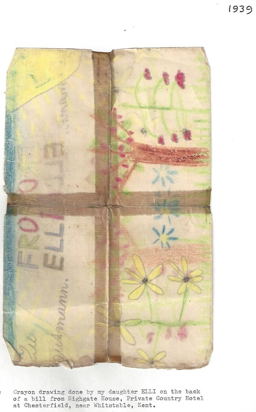 Kitchener camp, Manele Spielmann, Document, Drawing by daughter Elli Spielmann, Whitstable, Kent