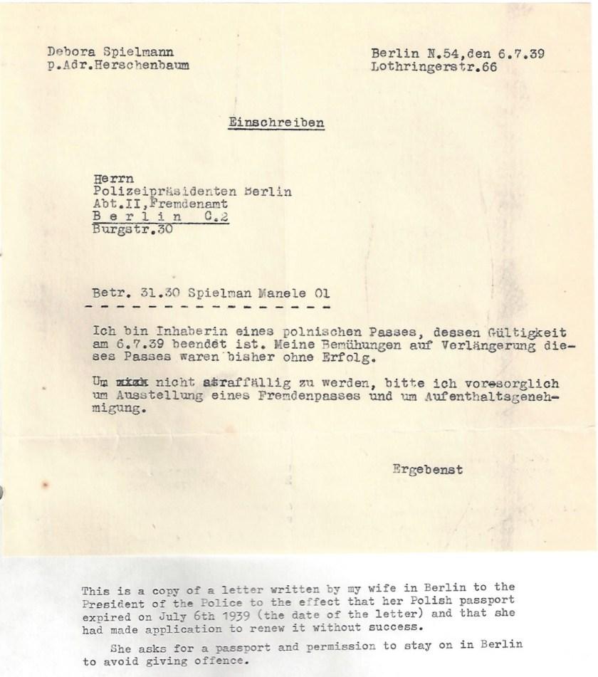 Kitchener camp, Manele Spielmann, Letter, Berlin Police chief, Polizeipräsidenten Berlin, Polish passport expired, 6 July 1939