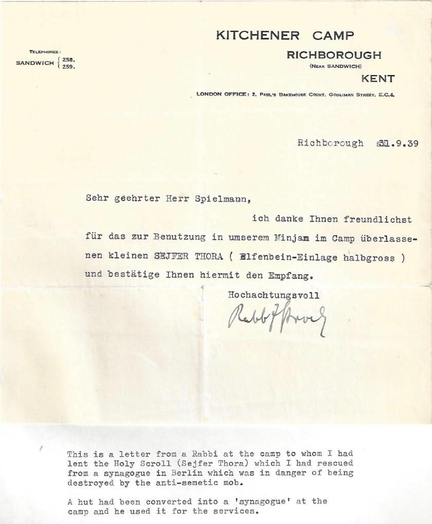 Kitchener camp, Manele Spielmann, Letter, Rescued Berlin Sejfer Thora, Sefer Torah, Camp hut synagogue, 31 December 1939