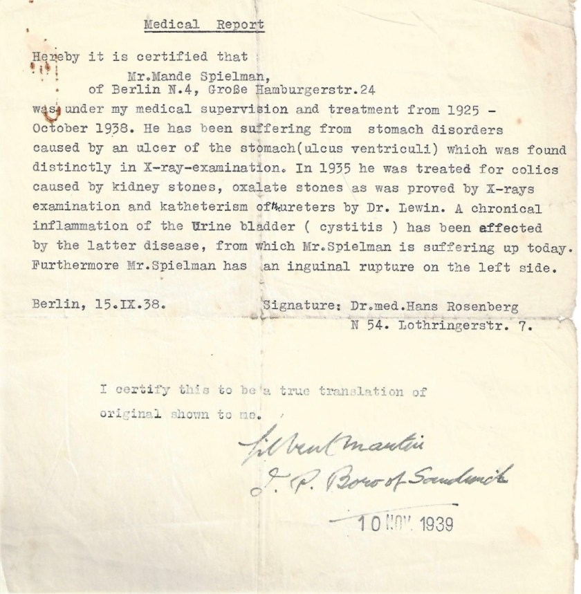 Kitchener camp, Manele Spielmann, Document, Medical report, Dr Gilbert Martin, Sandwich, 10 November 1939