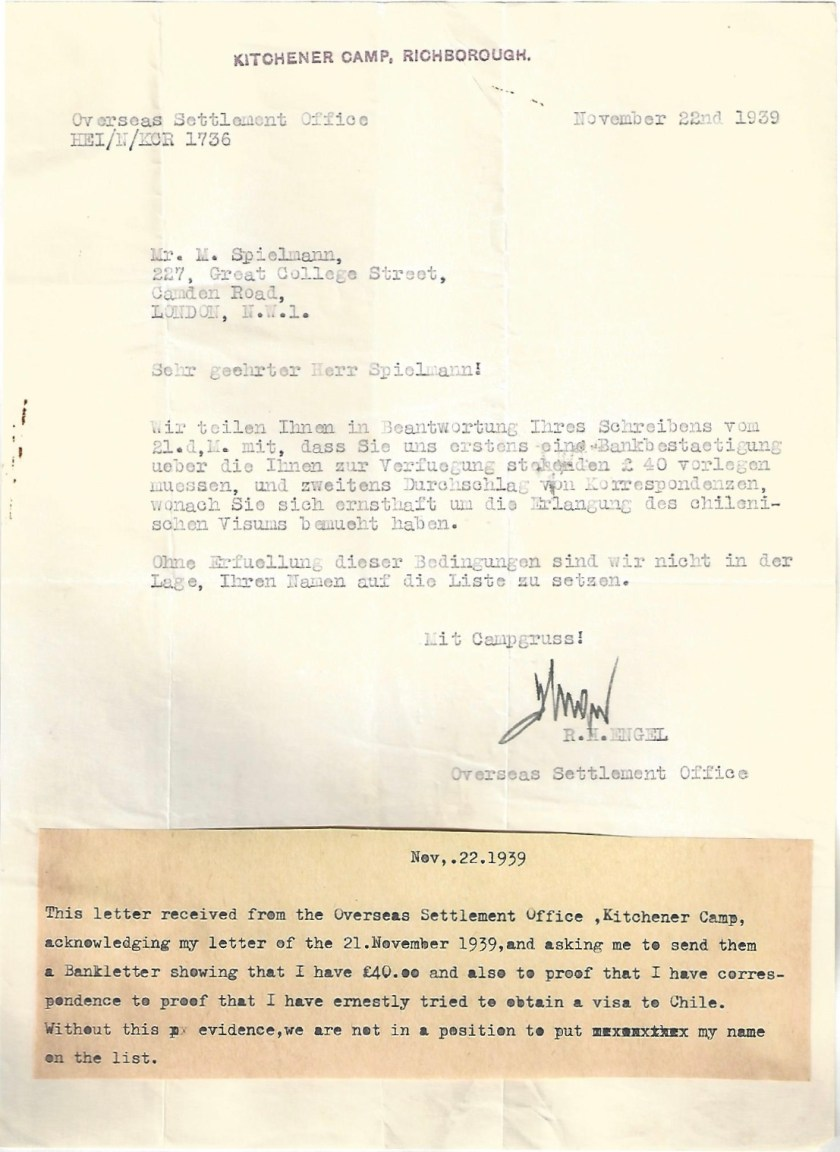 Kitchener camp, Manele Spielmann, Letter, Overseas Settlement Office, Request for proof of £40 guarantee, Proof of attempt to obtain visa for Chile, 22 November 1939